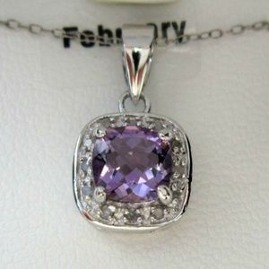 Diamond & Amethyst Necklace on sterling silver